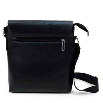 PU Leather Black Crossbody Messenger Bag - FBG1834