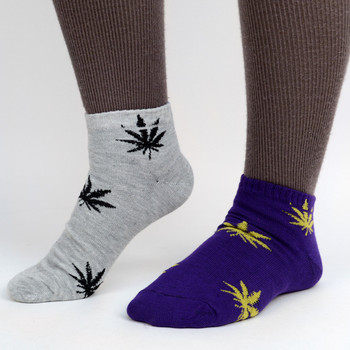 Assorted (6 pairs/pack) Women's Low Cut Marijuana Socks - LN6F1641-NT
