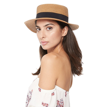 Spring/Summer Ribbon Round Flat Top Ladies' Hat - LFH190102