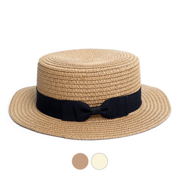 Ribbon Round Flat Top Ladies' Hat - LFH190102