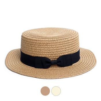 Ribbon Round Flat Top Ladies' Hat - LFH190102