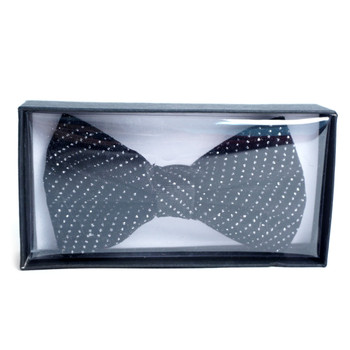Men's Soft Velvet Rhinestone Black Bow Tie - RBT-BK