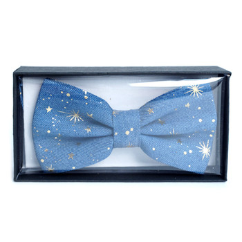 Men's Metallic Print Star Denim Bow Tie - DBT1001