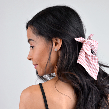 Ladies Pink Checkered Ribbon Hair Tie - RHT1000