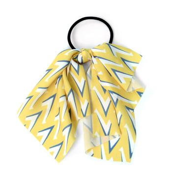 Ladies Yellow Geometric Ribbon Hair Tie - RHT1002