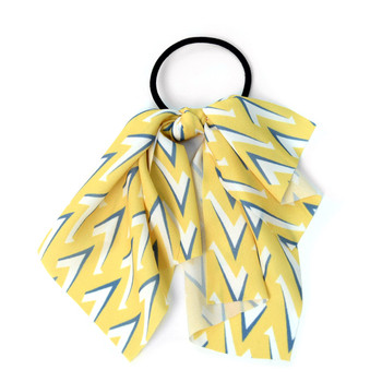 Ladies Yellow Geometric Ribbon Hair Tie - RHT1002