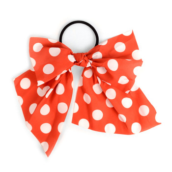 Ladies Red Polka Dots Ribbon Hair Tie - RHT1001