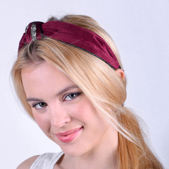 """C"" Shaped Knotted Rhinestone Detail Velvet Feel Headband -PHB1001"