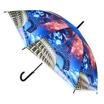Europe Scenery Fireworks Plastic Canopy Umbrella - UM18074