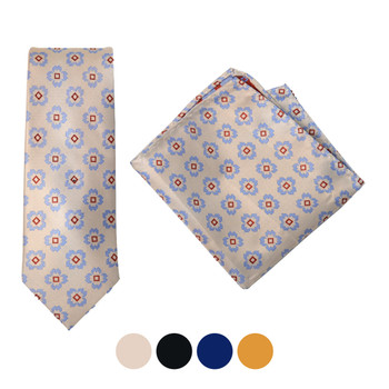 Geometric Microfiber Poly Woven Tie & Hanky - MPWTH1800-03