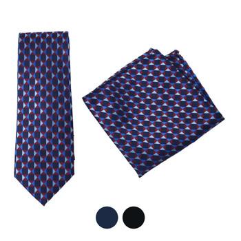 Geometric Microfiber Poly Woven Tie & Hanky Set - MPWTH1812-13