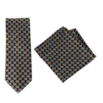 Geometric Microfiber Poly Woven Tie & Hanky Set - MPWTH1814