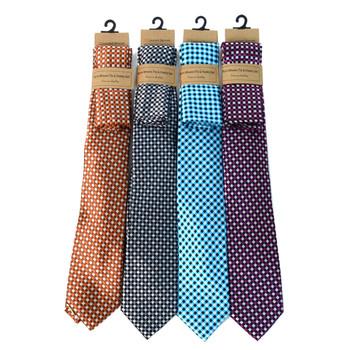 Geometric Microfiber Poly Woven Tie & Hanky Set - MPWTH1815-18