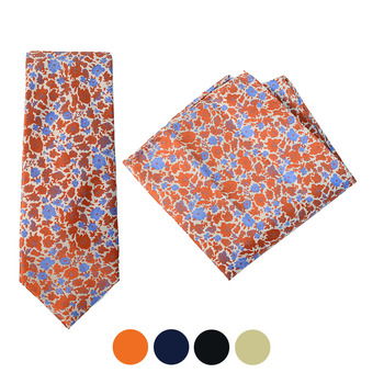 Floral Microfiber Poly Woven Tie & Hanky Set - MPWTH1819-22