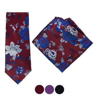 Floral Microfiber Poly Woven Tie & Hanky Set - MPWTH1823-25