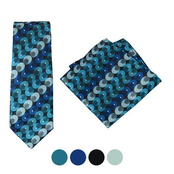 Geometric Circle Microfiber Poly Woven Tie & Hanky Set - MPWTH1826-29