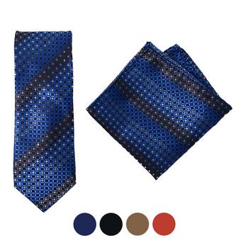 Geometric Microfiber Poly Woven Tie & Hanky Set - MPWTH1834-37