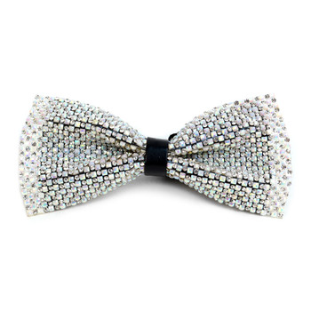 Men's White Crystal Rhinestone Bow Tie - RBT1201