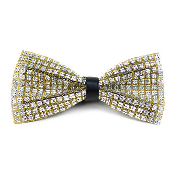 Men's Crystal Silver Rhinestone over Gold Bow Tie - RBT1202