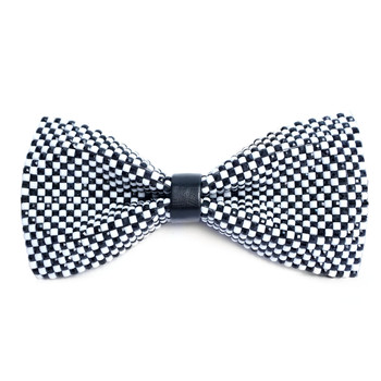 Men's Black & White Checkered Rhinestone Bow Tie - RBT1203