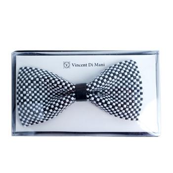 Men's Black & White Checkered Rhinestone Bow Tie - RBT1203