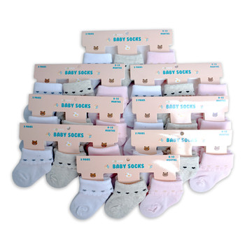 24 Pairs Assorted Solid Color Babies' Socks - GSS24PR02-WGP