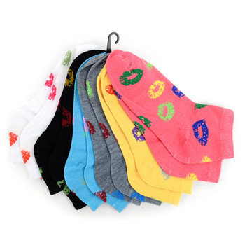 Assorted (6 pairs/pack) Women's Kiss Low Cut Socks - LN6F1639