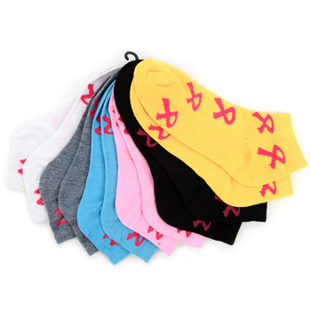 Assorted (6 pairs/pack) Women's Breast Cancer Awareness Low Cut Socks - LN6F1640