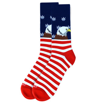 Men's Bald Eagle American Flag with Marijuana Stars Premium Collection Novelty Socks - NVPS2022