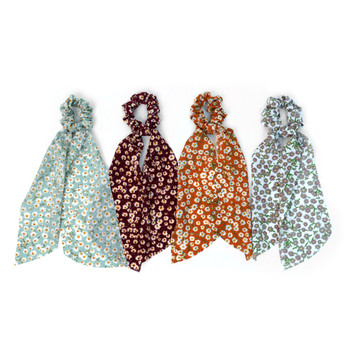 12pc Floral Scrunchie Ribbon Hair Tie -12SRT-FLR