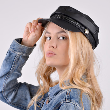 Women's Spring/Summer Black Leather Baker Cap - LSBC1200