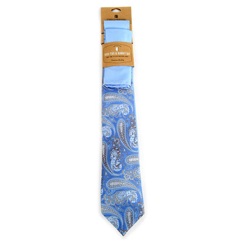 Paisley & Solid Blue Microfiber Poly Woven Two Ties & Hanky Set - TH2X-70