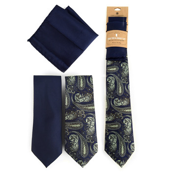 Paisley & Solid Navy Microfiber Poly Woven Two Ties & Hanky Set - TH2X-71