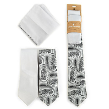 Paisley & Solid Silver Microfiber Poly Woven Two Ties & Hanky Set - TH2X-72