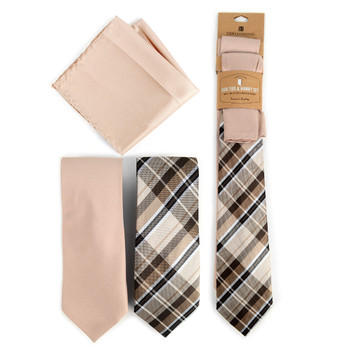 Plaid & Solid Tan Microfiber Poly Woven Two Ties & Hanky Set - TH2X-73