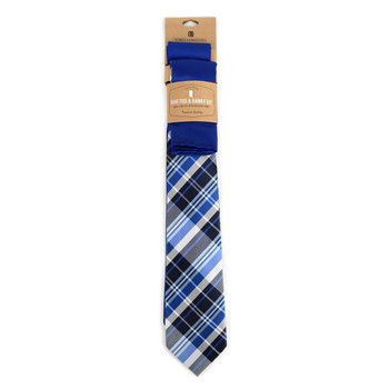 Plaid & Solid Royal Blue Microfiber Poly Woven Two Ties & Hanky Set - TH2X-74