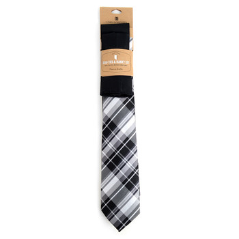 Plaid & Solid Black Microfiber Poly Woven Two Ties & Hanky Set - TH2X0-75