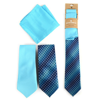 Dots & Solid Turquoise Microfiber Poly Woven Two Ties & Hanky Set - TH2X0-76