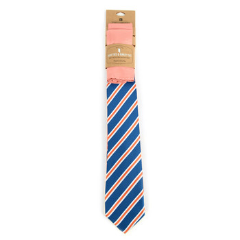 Striped  & Solid Peach Microfiber Poly Woven Two Ties & Hanky Set - TH2X-77