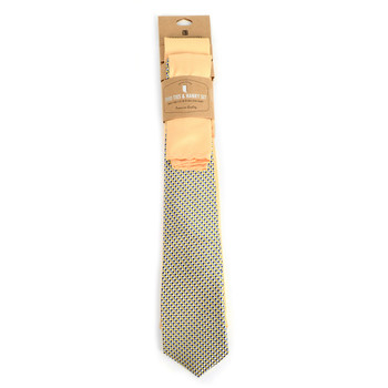 Dots & Solid Gold Microfiber Poly Woven Two Ties & Hanky Set - TH2X-78