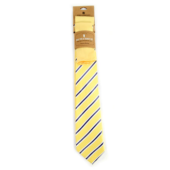 Striped & Solid Yellow Microfiber Poly Woven Two Ties & Hanky Set - TH2X-79