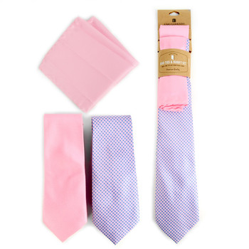 Dots & Solid Pink Microfiber Poly Woven Two Ties & Hanky Set - TH2X-80