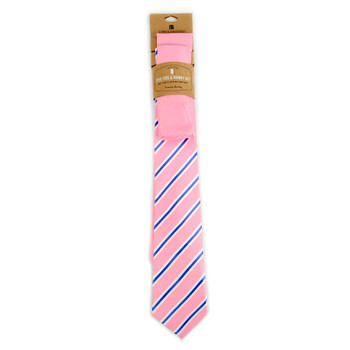Striped & Solid Pink Microfiber Poly Woven Two Ties & Hanky Set - TH2X-81
