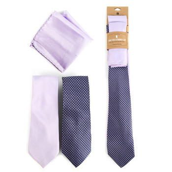 Dots & Solid Lavender Microfiber Poly Woven Two Ties & Hanky Set - TH2X-82