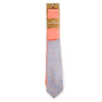 Striped & Solid Peach Microfiber Poly Woven Two Ties & Hanky Set - TH2X-83