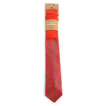 Dots & Solid Red Microfiber Poly Woven Two Ties & Hanky Set - TH2X-85