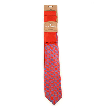 Dots & Solid Red Microfiber Poly Woven Two Ties & Hanky Set - TH2X-84