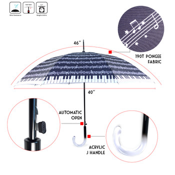 Music Note Printed Umbrella - UM5035-BK