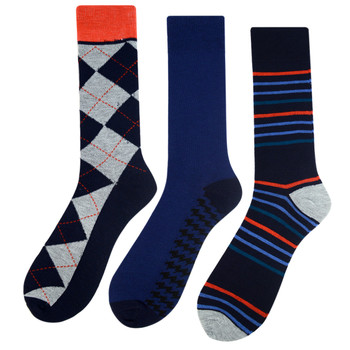 Assorted Pack (3 Pairs) Men's Casual Fancy Crew Socks 3PKS-DRSY13