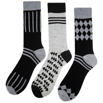 Assorted Pack (3 Pairs) Men's Casual Fancy Crew Socks - 3PKS-S/S-12